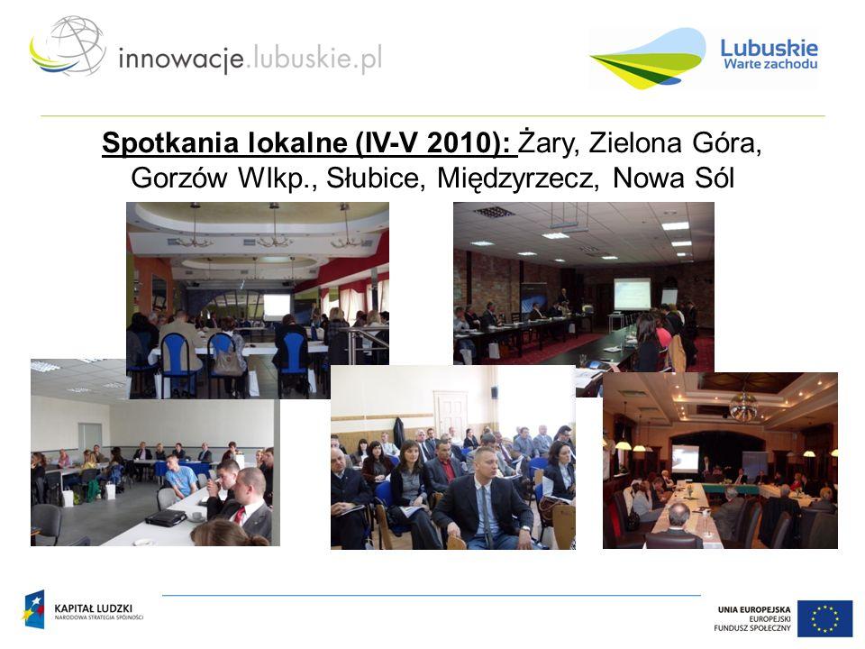 Spotkania lokalne (IV-V 2010): Żary, Zielona Góra, Gorzów Wlkp., Słubice, Międzyrzecz, Nowa Sól