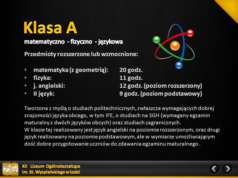 Przedmioty rozszerzone lub wzmocnione: matematyka (z geometrią): : 23 godz.