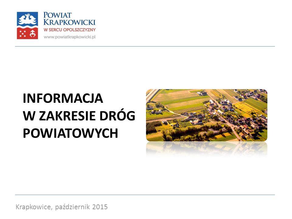 INFORMACJA W ZAKRESIE DRÓG POWIATOWYCH Krapkowice, październik 2015