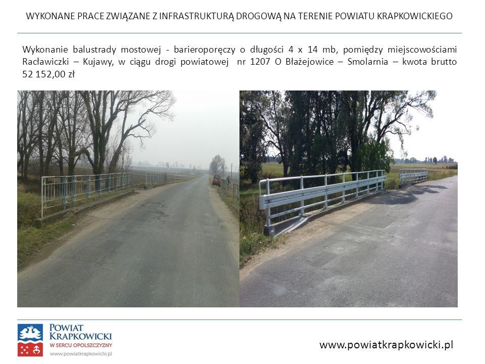 WYKONANE PRACE ZWIĄZANE Z INFRASTRUKTURĄ DROGOWĄ NA TERENIE POWIATU KRAPKOWICKIEGO Wykonanie balustrady mostowej - barieroporęczy o długości 4 x 14 mb