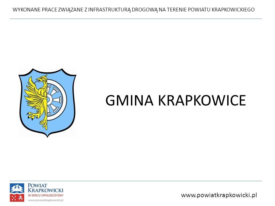 WYKONANE PRACE ZWIĄZANE Z INFRASTRUKTURĄ DROGOWĄ NA TERENIE POWIATU KRAPKOWICKIEGO GMINA KRAPKOWICE www.powiatkrapkowicki.pl