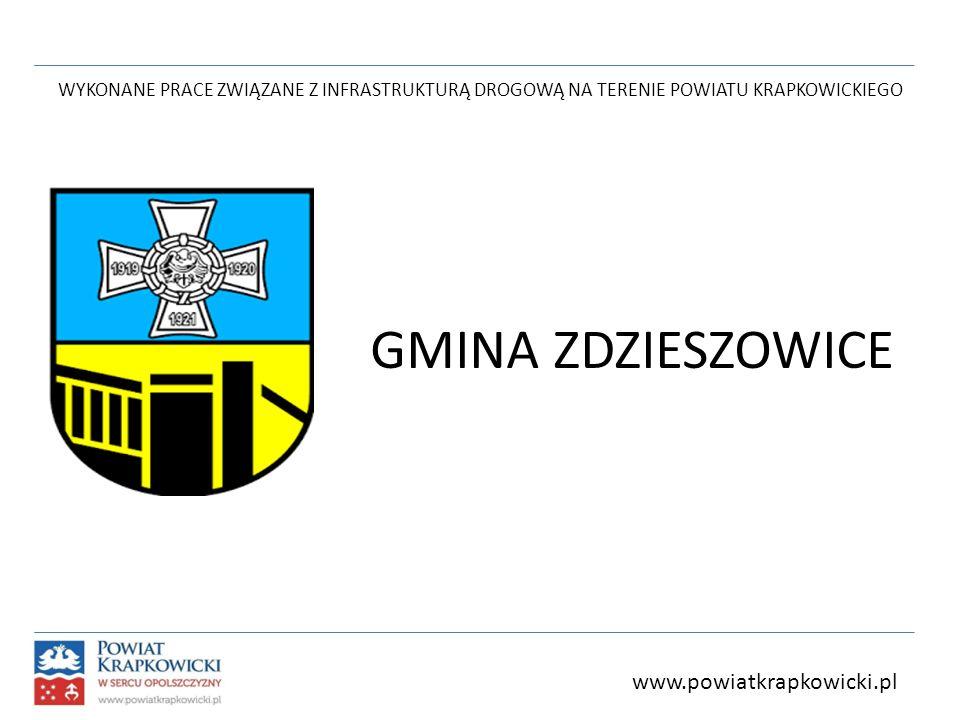 WYKONANE PRACE ZWIĄZANE Z INFRASTRUKTURĄ DROGOWĄ NA TERENIE POWIATU KRAPKOWICKIEGO GMINA ZDZIESZOWICE www.powiatkrapkowicki.pl