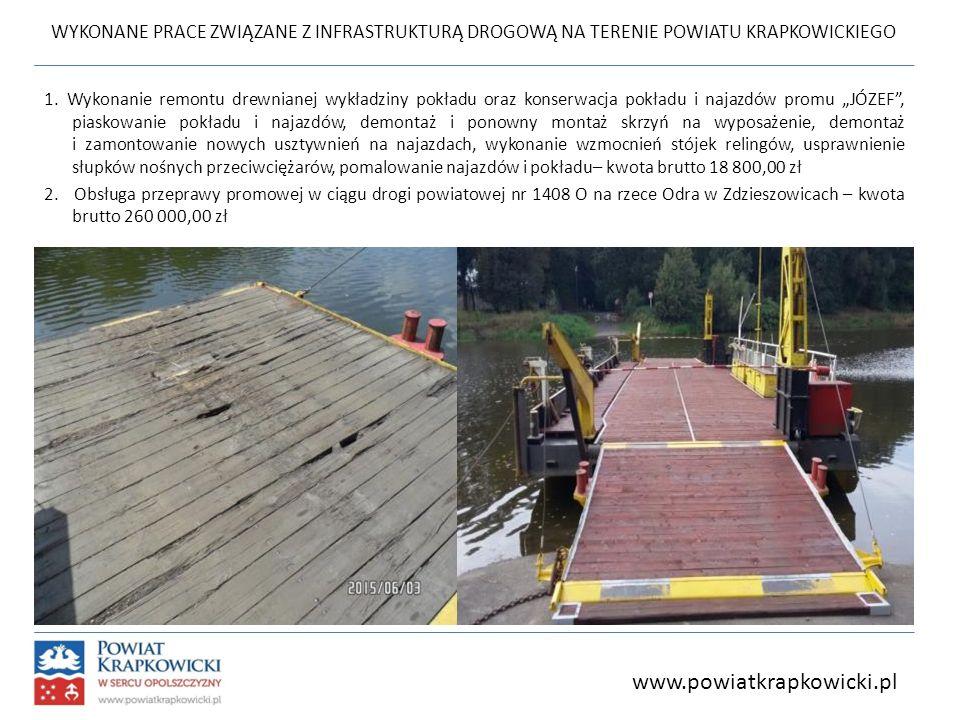 WYKONANE PRACE ZWIĄZANE Z INFRASTRUKTURĄ DROGOWĄ NA TERENIE POWIATU KRAPKOWICKIEGO 1. Wykonanie remontu drewnianej wykładziny pokładu oraz konserwacja
