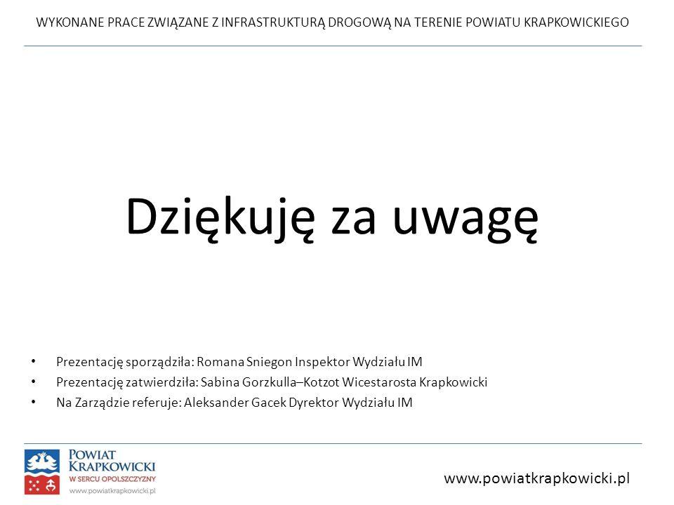 WYKONANE PRACE ZWIĄZANE Z INFRASTRUKTURĄ DROGOWĄ NA TERENIE POWIATU KRAPKOWICKIEGO www.powiatkrapkowicki.pl Dziękuję za uwagę Prezentację sporządziła: