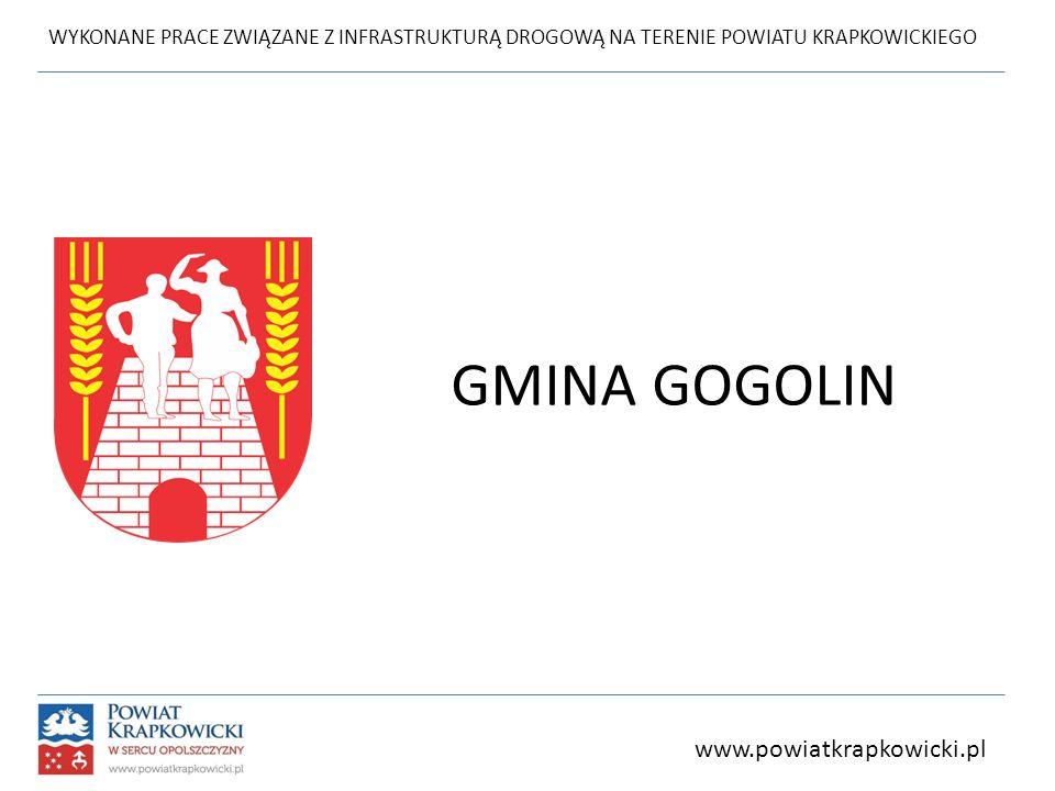 WYKONANE PRACE ZWIĄZANE Z INFRASTRUKTURĄ DROGOWĄ NA TERENIE POWIATU KRAPKOWICKIEGO GMINA GOGOLIN www.powiatkrapkowicki.pl