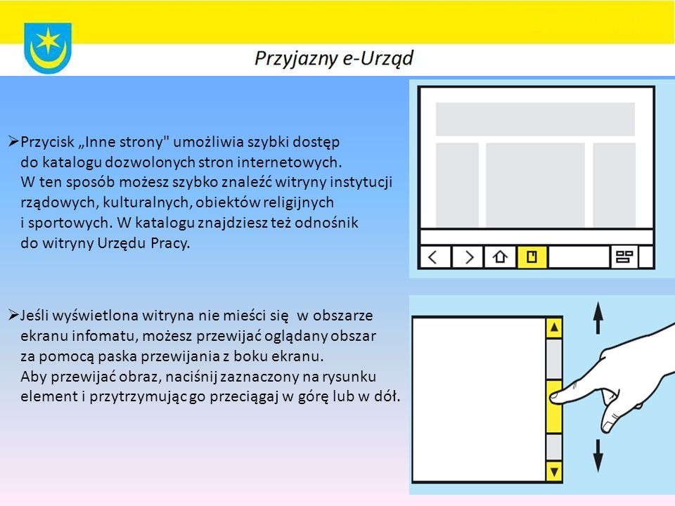 """ Przycisk """"Inne strony umożliwia szybki dostęp do katalogu dozwolonych stron internetowych."""