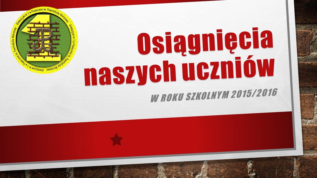 Osiągnięcia naszych uczniów W ROKU SZKOLNYM 2015/2016