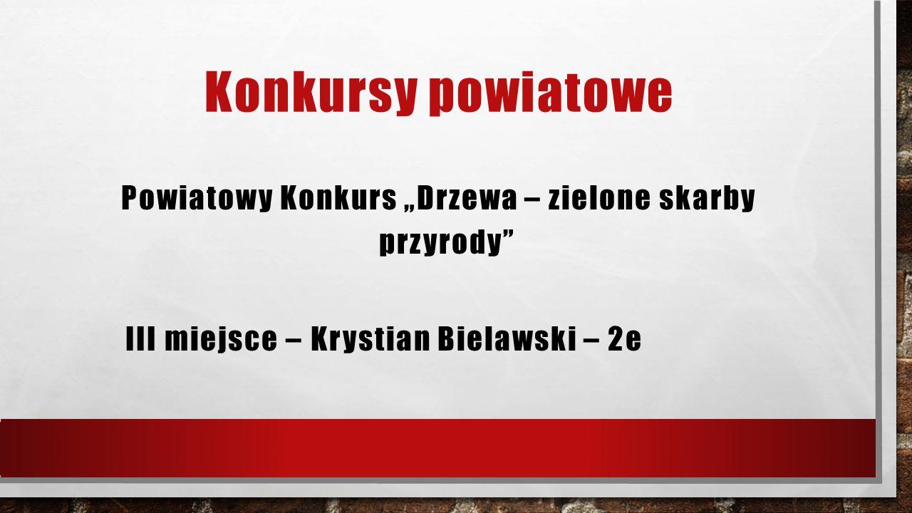 """Konkursy powiatowe Powiatowy Konkurs """"Drzewa – zielone skarby przyrody"""" III miejsce – Krystian Bielawski – 2e"""