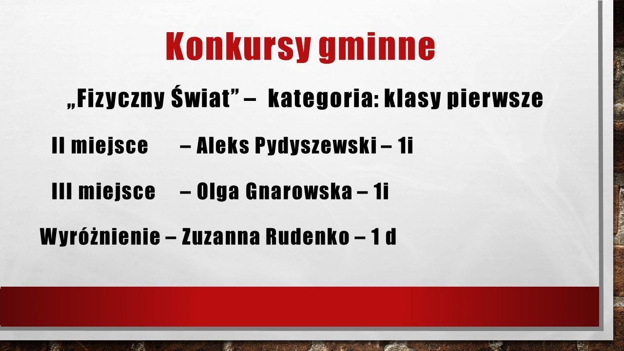 """Konkursy gminne """"Fizyczny Świat"""" – kategoria: klasy pierwsze II miejsce – Aleks Pydyszewski – 1i III miejsce – Olga Gnarowska – 1i Wyróżnienie – Zuzan"""