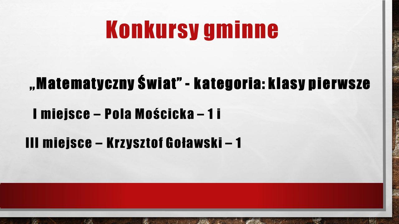 """Konkursy gminne """" Matematyczny Świat - kategoria: klasy pierwsze I miejsce – Pola Mościcka – 1 i III miejsce – Krzysztof Goławski – 1"""
