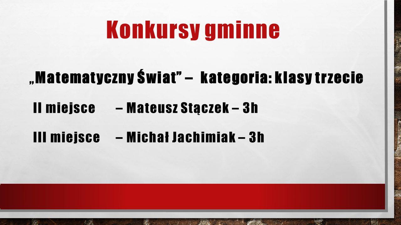 """Konkursy gminne """" Matematyczny Świat"""" – kategoria: klasy trzecie II miejsce – Mateusz Stączek – 3h III miejsce – Michał Jachimiak – 3h"""