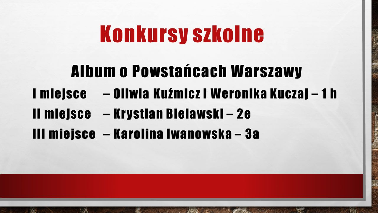Konkursy szkolne Album o Powstańcach Warszawy I miejsce – Oliwia Kuźmicz i Weronika Kuczaj – 1 h II miejsce – Krystian Bielawski – 2e III miejsce – Karolina Iwanowska – 3a