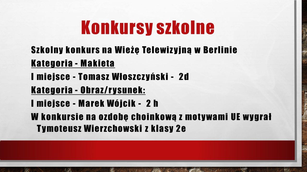 Konkursy szkolne Szkolny konkurs na Wieżę Telewizyjną w Berlinie Kategoria - Makieta I miejsce - Tomasz Włoszczyński - 2d Kategoria - Obraz/rysunek: I
