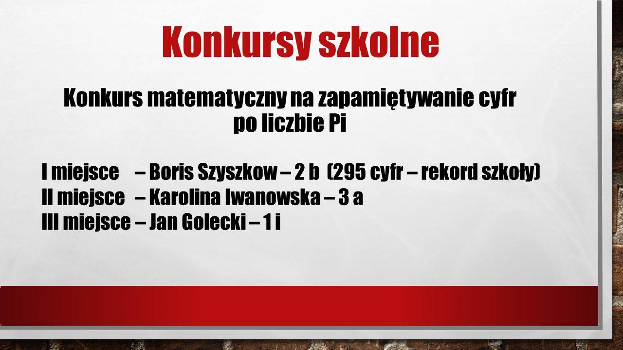 Konkursy szkolne Konkurs matematyczny na zapamiętywanie cyfr po liczbie Pi I miejsce – Boris Szyszkow – 2 b (295 cyfr – rekord szkoły) II miejsce – Karolina Iwanowska – 3 a III miejsce – Jan Golecki – 1 i