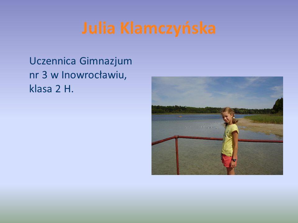 Julia Klamczyńska Uczennica Gimnazjum nr 3 w Inowrocławiu, klasa 2 H.
