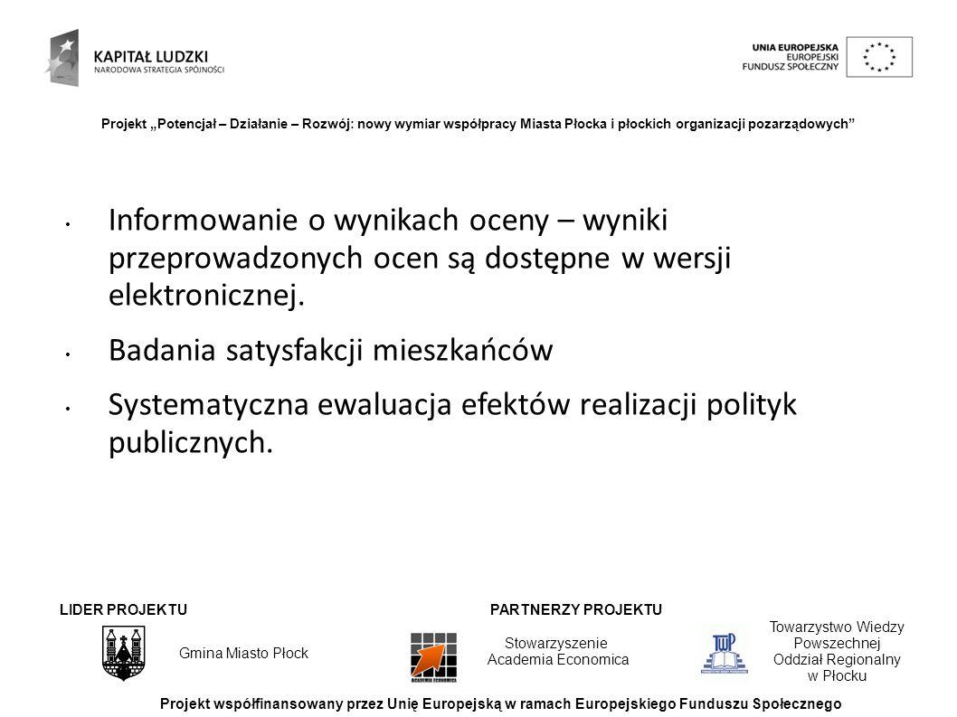 LIDER PROJEKTUPARTNERZY PROJEKTU Towarzystwo Wiedzy Powszechnej Oddział Regionalny w Płocku Stowarzyszenie Academia Economica Projekt współfinansowany