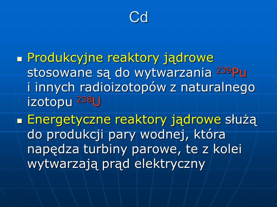 Cd Produkcyjne reaktory jądrowe stosowane są do wytwarzania 239 Pu i innych radioizotopów z naturalnego izotopu 238 U Produkcyjne reaktory jądrowe stosowane są do wytwarzania 239 Pu i innych radioizotopów z naturalnego izotopu 238 U Energetyczne reaktory jądrowe służą do produkcji pary wodnej, która napędza turbiny parowe, te z kolei wytwarzają prąd elektryczny Energetyczne reaktory jądrowe służą do produkcji pary wodnej, która napędza turbiny parowe, te z kolei wytwarzają prąd elektryczny