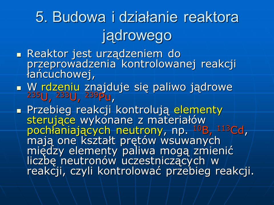 Cd W rdzeniu reaktora znajduje się moderator – spowalniacz neutronów, jest to woda H 2 O lub woda ciężka D 2 O, beryl, węgiel w postaci grafitu.