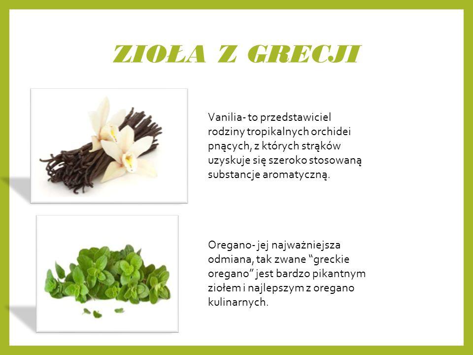 ZIOŁA Z GRECJI Vanilia- to przedstawiciel rodziny tropikalnych orchidei pnących, z których strąków uzyskuje się szeroko stosowaną substancje aromatyczną.