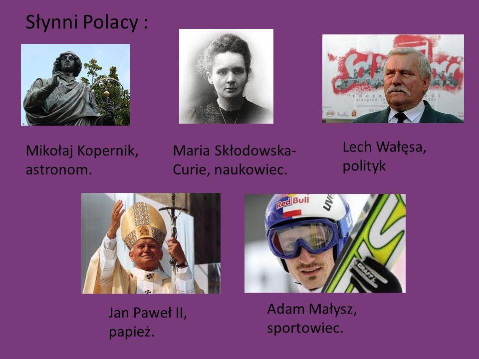 Słynni Polacy : Mikołaj Kopernik, astronom. Maria Skłodowska- Curie, naukowiec.