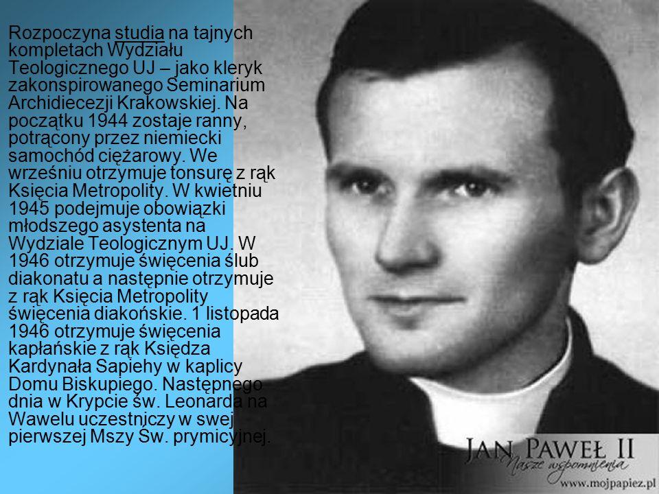 Rozpoczyna studia na tajnych kompletach Wydziału Teologicznego UJ – jako kleryk zakonspirowanego Seminarium Archidiecezji Krakowskiej.