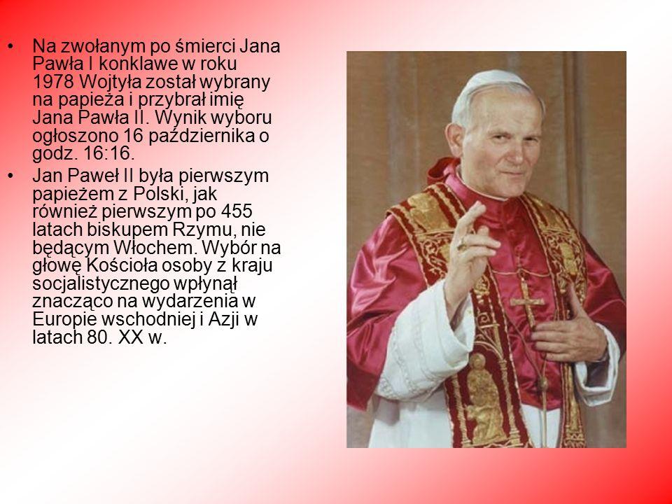 Na zwołanym po śmierci Jana Pawła I konklawe w roku 1978 Wojtyła został wybrany na papieża i przybrał imię Jana Pawła II.