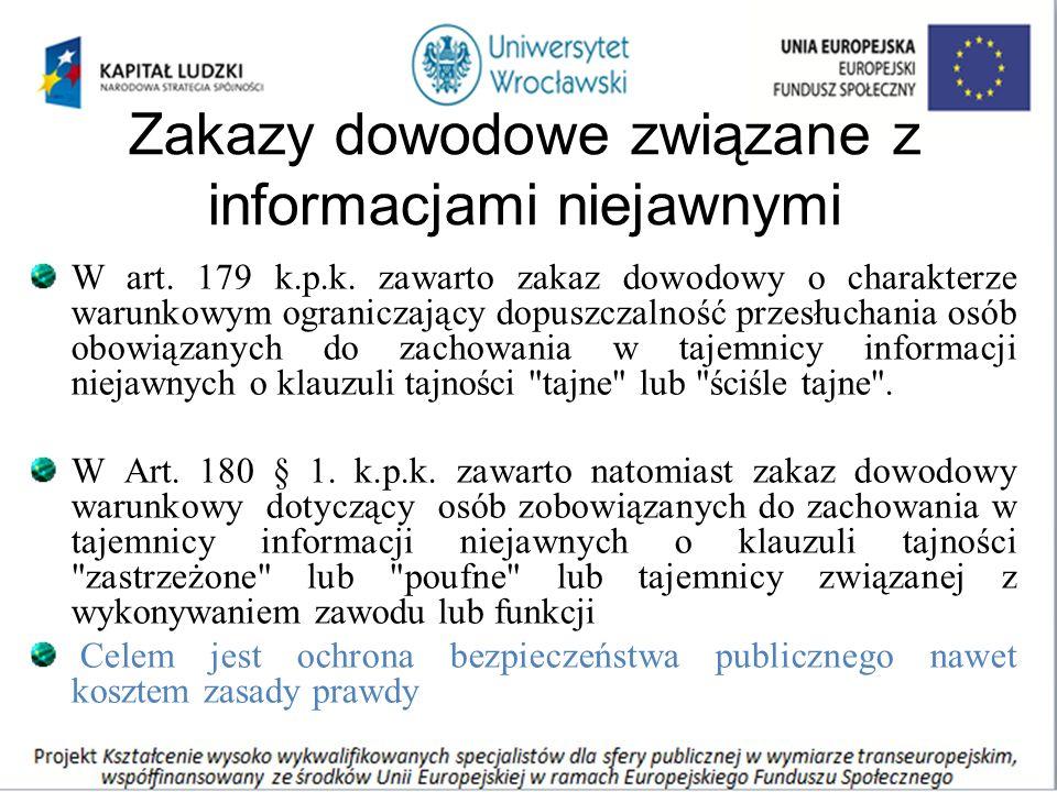 Zakazy dowodowe związane z informacjami niejawnymi W art. 179 k.p.k. zawarto zakaz dowodowy o charakterze warunkowym ograniczający dopuszczalność prze