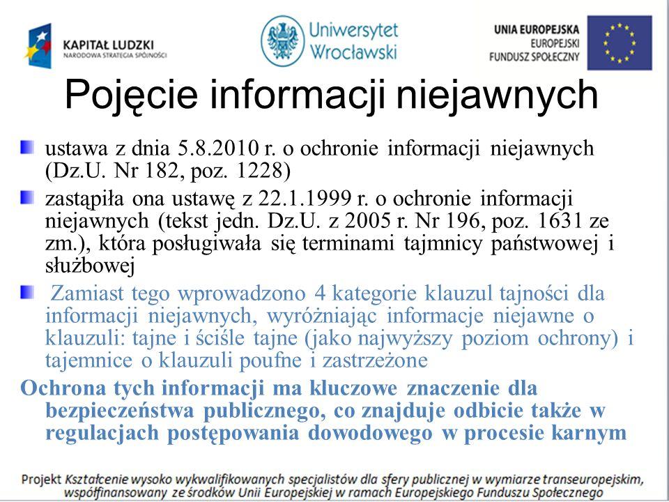 Pojęcie informacji niejawnych ustawa z dnia 5.8.2010 r. o ochronie informacji niejawnych (Dz.U. Nr 182, poz. 1228) zastąpiła ona ustawę z 22.1.1999 r.