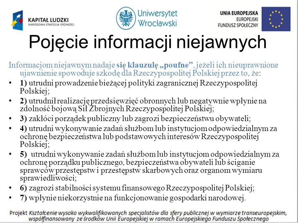 """Pojęcie informacji niejawnych Informacjom niejawnym nadaje się klauzulę """"poufne"""", jeżeli ich nieuprawnione ujawnienie spowoduje szkodę dla Rzeczypospo"""