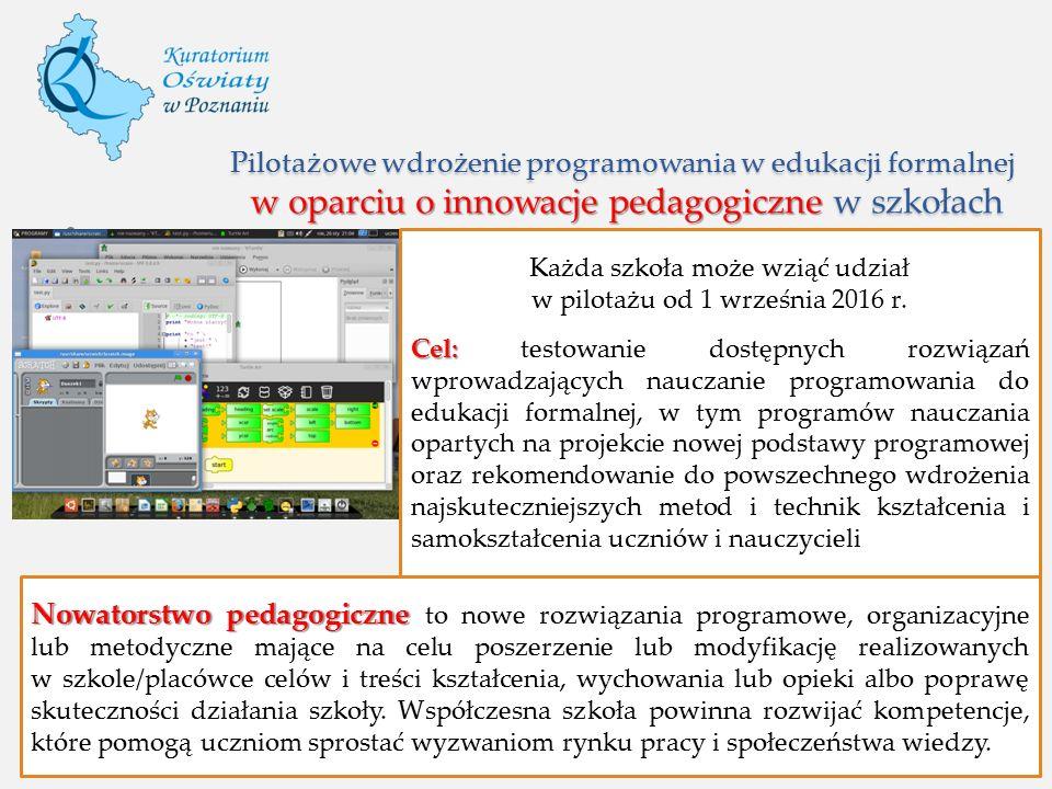 Pilotażowe wdrożenie programowania w edukacji formalnej w oparciu o innowacje pedagogiczne w szkołach Nowatorstwo pedagogiczne Nowatorstwo pedagogiczn