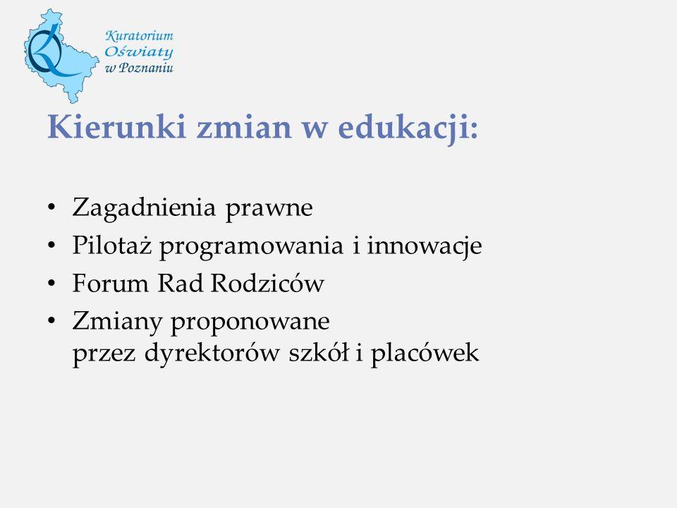 Kierunki zmian w edukacji: Zagadnienia prawne Pilotaż programowania i innowacje Forum Rad Rodziców Zmiany proponowane przez dyrektorów szkół i placówe