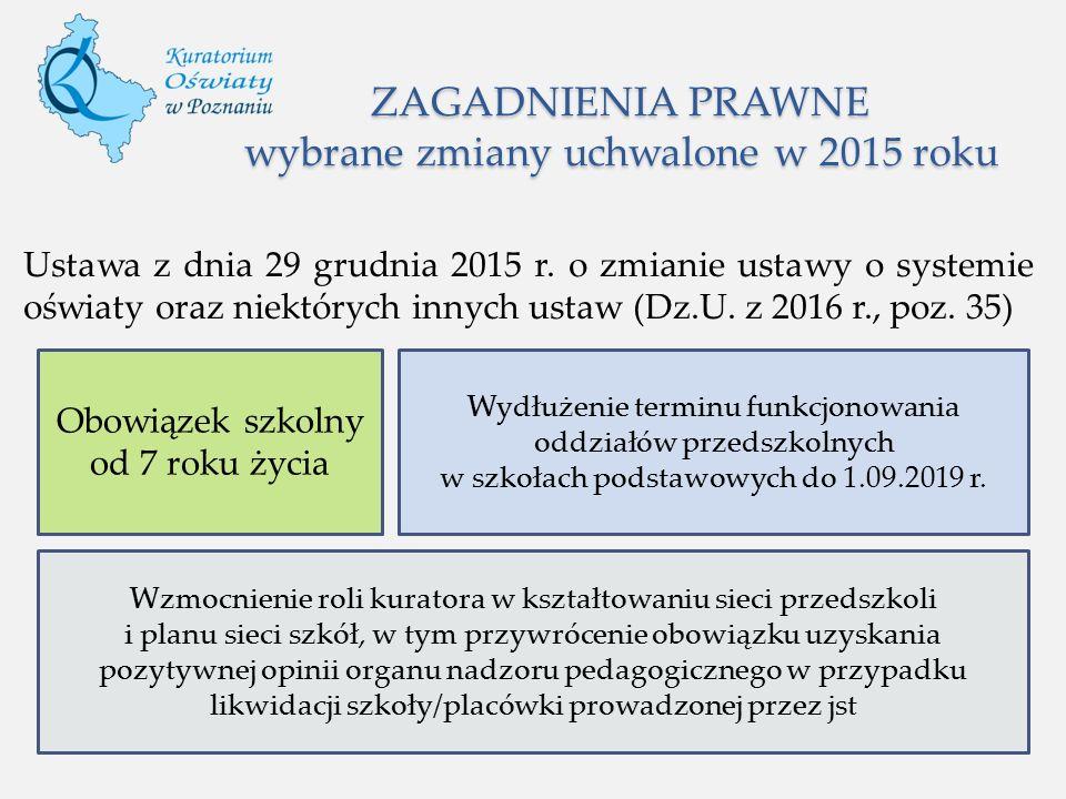ZAGADNIENIA PRAWNE wybrane zmiany uchwalone w 2015 roku Ustawa z dnia 29 grudnia 2015 r. o zmianie ustawy o systemie oświaty oraz niektórych innych us