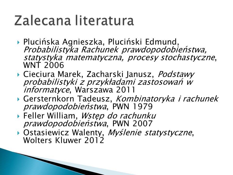  Plucińska Agnieszka, Pluciński Edmund, Probabilistyka Rachunek prawdopodobieństwa, statystyka matematyczna, procesy stochastyczne, WNT 2006  Cieciu