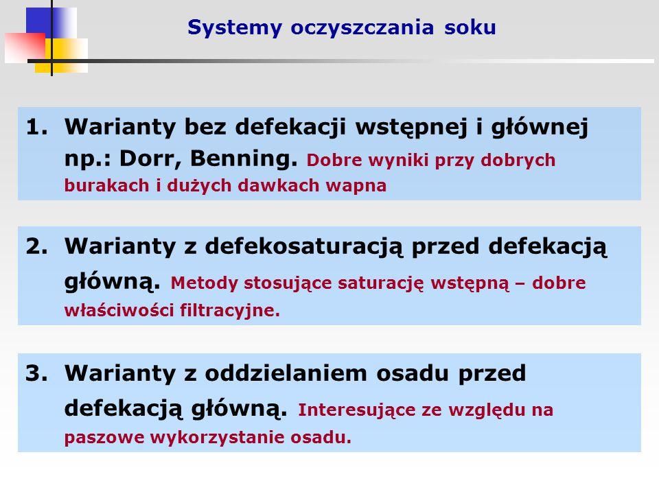 Systemy oczyszczania soku 1.Warianty bez defekacji wstępnej i głównej np.: Dorr, Benning.