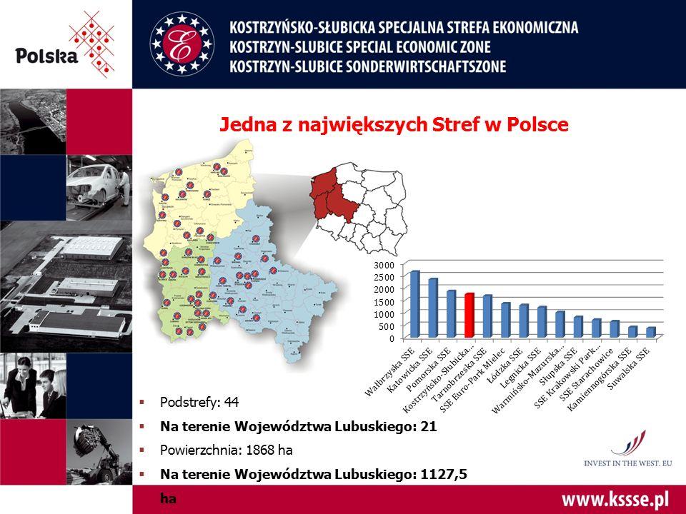Jedna z największych Stref w Polsce  Podstrefy: 44  Na terenie Województwa Lubuskiego: 21  Powierzchnia: 1868 ha  Na terenie Województwa Lubuskieg