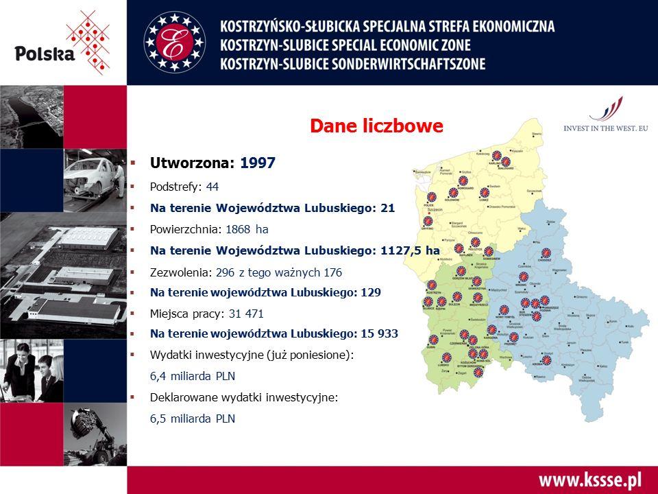  Utworzona: 1997  Podstrefy: 44  Na terenie Województwa Lubuskiego: 21  Powierzchnia: 1868 ha  Na terenie Województwa Lubuskiego: 1127,5 ha  Zez