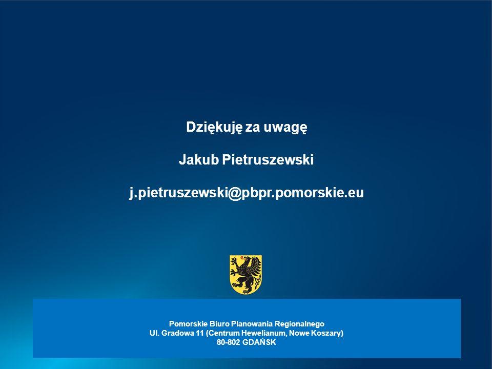 Dziękuję za uwagę Jakub Pietruszewski j.pietruszewski@pbpr.pomorskie.eu Pomorskie Biuro Planowania Regionalnego Ul.