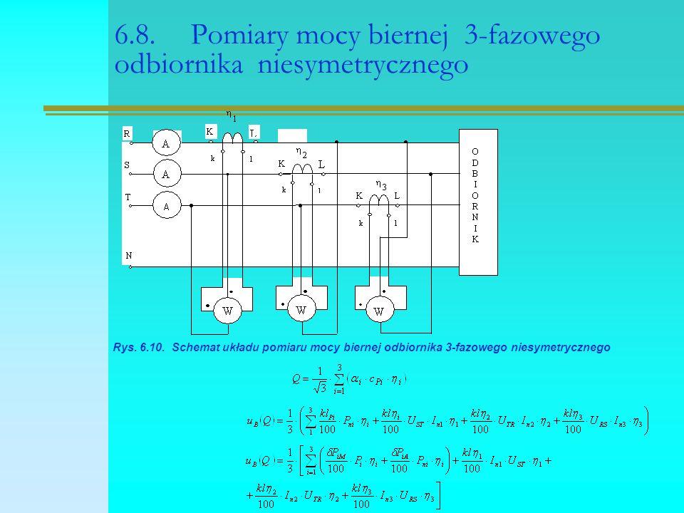 6.8. Pomiary mocy biernej 3-fazowego odbiornika niesymetrycznego Rys. 6.10. Schemat układu pomiaru mocy biernej odbiornika 3-fazowego niesymetrycznego