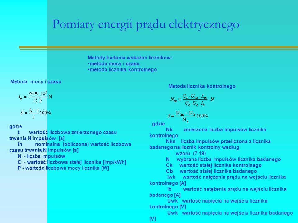 Pomiary energii prądu elektrycznego Metody badania wskazań liczników: metoda mocy i czasu metoda licznika kontrolnego Metoda mocy i czasu gdzie t wartość liczbowa zmierzonego czasu trwania N impulsów [s] tn nominalna (obliczona) wartość liczbowa czasu trwania N impulsów [s] N - liczba impulsów C - wartość liczbowa stałej licznika [imp/kWh] P - wartość liczbowa mocy licznika [W] Metoda licznika kontrolnego gdzie Nk zmierzona liczba impulsów licznika kontrolnego Nkn liczba impulsów przeliczona z licznika badanego na licznik kontrolny według wzoru (7.18) N wybrana liczba impulsów licznika badanego Ck wartość stałej licznika kontrolnego Cb wartość stałej licznika badanego Iwk wartość natężenia prądu na wejściu licznika kontrolnego [A] Ib wartość natężenia prądu na wejściu licznika badanego [A] Uwk wartość napięcia na wejściu licznika kontrolnego [V] Uwk wartość napięcia na wejściu licznika badanego [V]