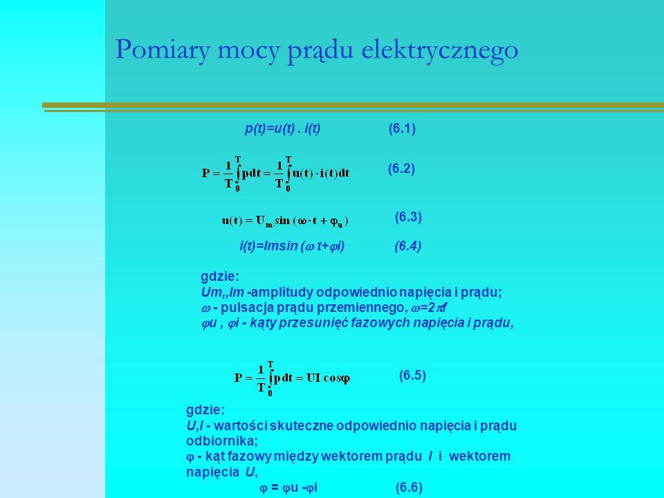 Pomiary mocy prądu elektrycznego p(t)=u(t). i(t) (6.1) (6.2) (6.3) i(t)=Imsin (  t+  i) (6.4) gdzie: Um,,Im -amplitudy odpowiednio napięcia i prądu;