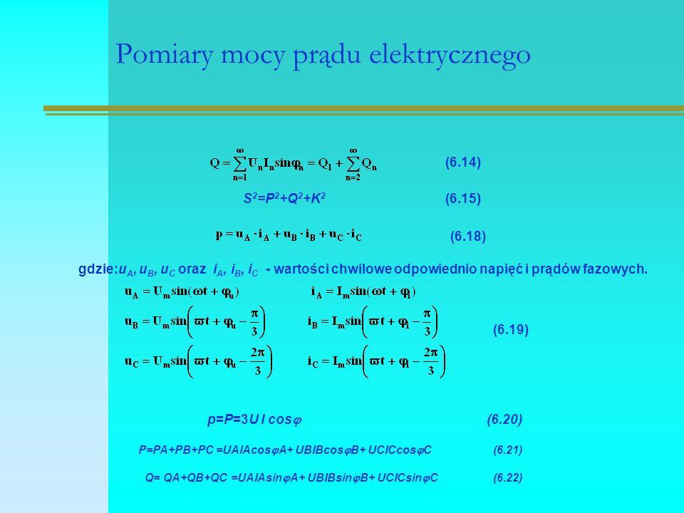 Pomiary mocy prądu elektrycznego (6.14) S 2 =P 2 +Q 2 +K 2 (6.15) (6.18) gdzie:u A, u B, u C oraz i A, i B, i C - wartości chwilowe odpowiednio napięć i prądów fazowych.