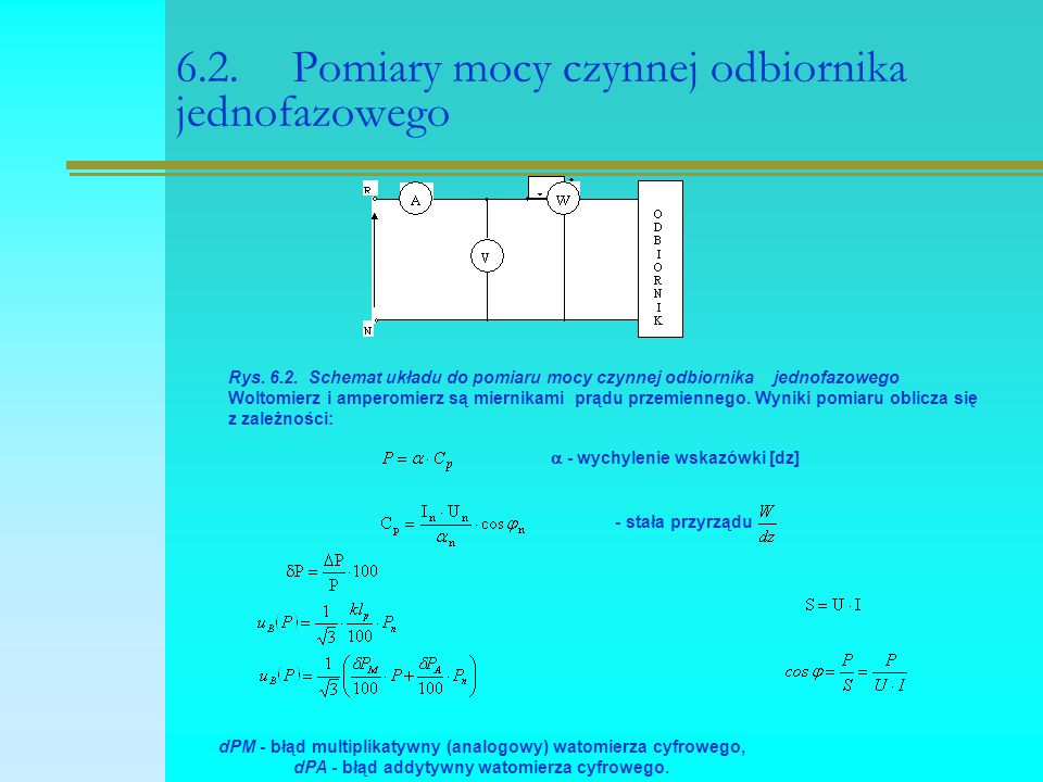 6.2. Pomiary mocy czynnej odbiornika jednofazowego Rys. 6.2. Schemat układu do pomiaru mocy czynnej odbiornika jednofazowego Woltomierz i amperomierz