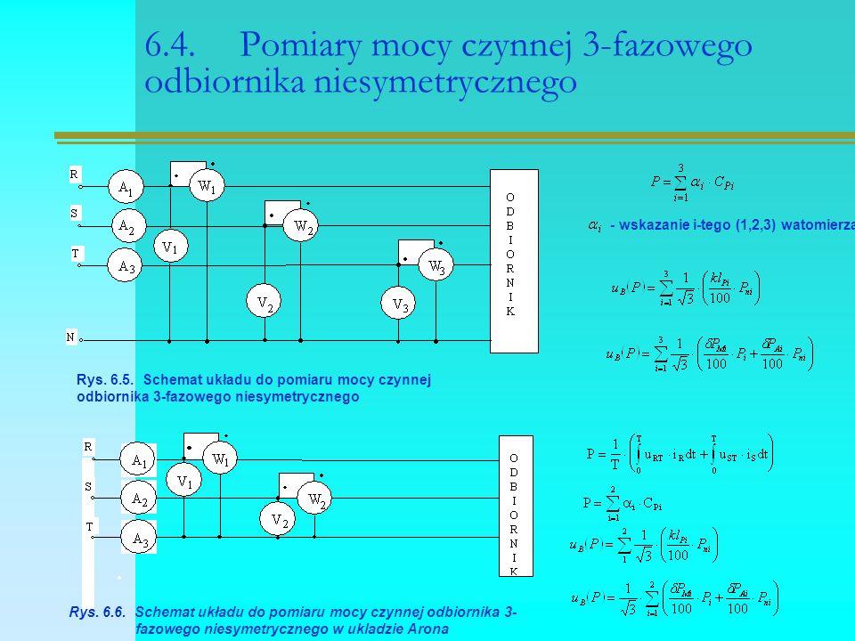 6.4. Pomiary mocy czynnej 3-fazowego odbiornika niesymetrycznego Rys. 6.5. Schemat układu do pomiaru mocy czynnej odbiornika 3-fazowego niesymetryczne