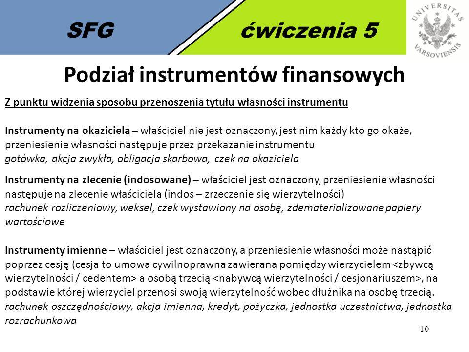 10 SFGćwiczenia 5 Podział instrumentów finansowych Z punktu widzenia sposobu przenoszenia tytułu własności instrumentu Instrumenty na okaziciela – wła
