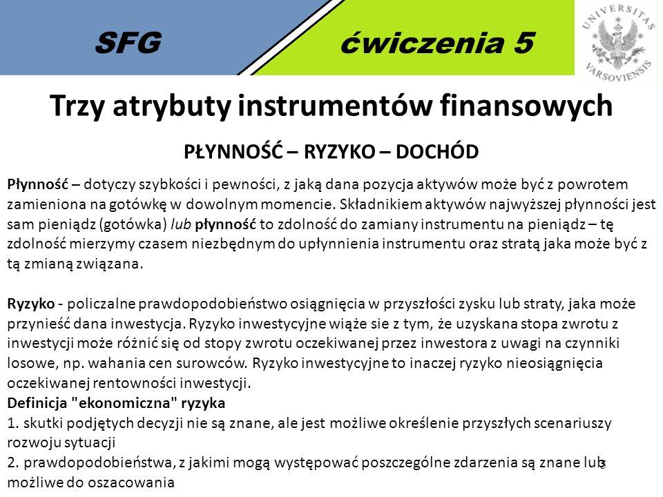 5 SFGćwiczenia 5 Trzy atrybuty instrumentów finansowych PŁYNNOŚĆ – RYZYKO – DOCHÓD Płynność – dotyczy szybkości i pewności, z jaką dana pozycja aktywó