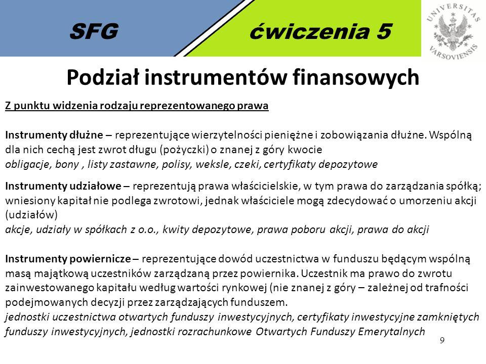 9 SFGćwiczenia 5 Podział instrumentów finansowych Z punktu widzenia rodzaju reprezentowanego prawa Instrumenty dłużne – reprezentujące wierzytelności