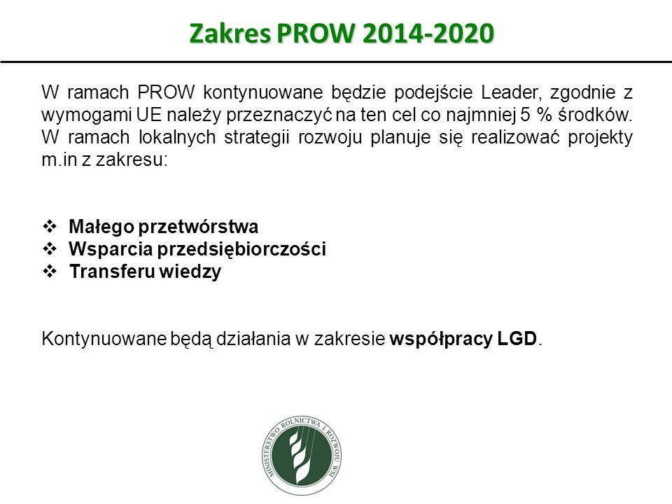 Zakres PROW 2014-2020 W ramach PROW kontynuowane będzie podejście Leader, zgodnie z wymogami UE należy przeznaczyć na ten cel co najmniej 5 % środków.