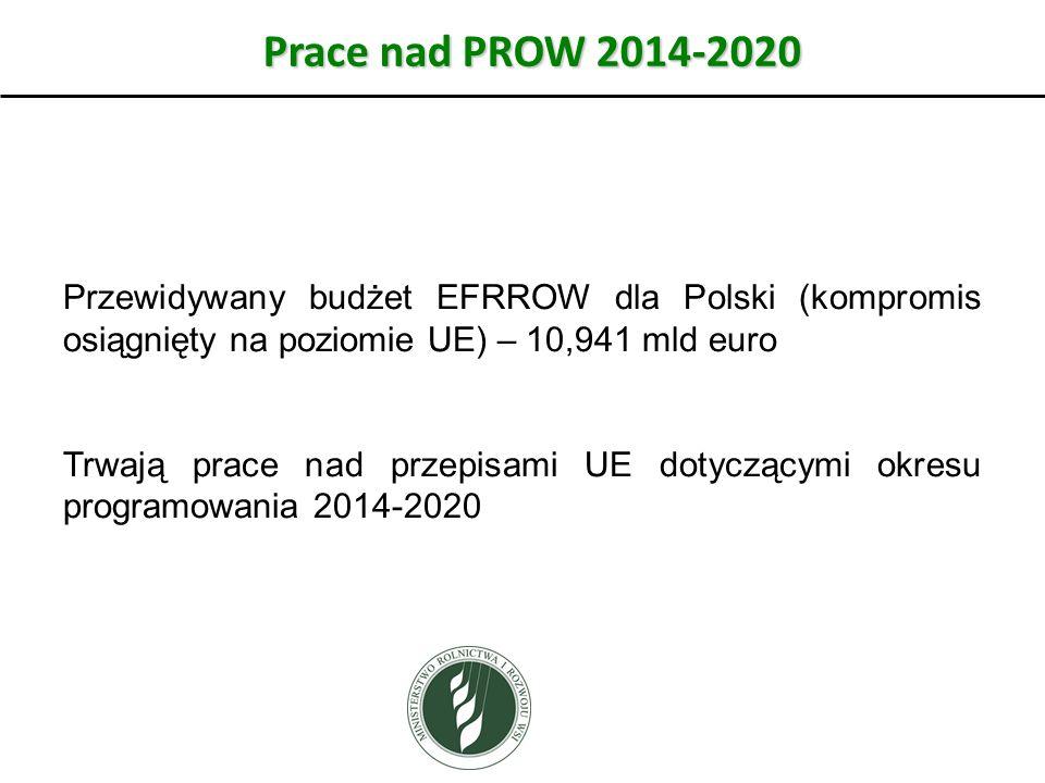 Prace nad PROW 2014-2020 Przewidywany budżet EFRROW dla Polski (kompromis osiągnięty na poziomie UE) – 10,941 mld euro Trwają prace nad przepisami UE dotyczącymi okresu programowania 2014-2020