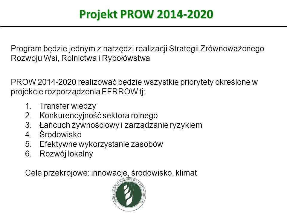 Projekt PROW 2014-2020 Program będzie jednym z narzędzi realizacji Strategii Zrównoważonego Rozwoju Wsi, Rolnictwa i Rybołówstwa PROW 2014-2020 realizować będzie wszystkie priorytety określone w projekcie rozporządzenia EFRROW tj: 1.Transfer wiedzy 2.Konkurencyjność sektora rolnego 3.Łańcuch żywnościowy i zarządzanie ryzykiem 4.Środowisko 5.Efektywne wykorzystanie zasobów 6.Rozwój lokalny Cele przekrojowe: innowacje, środowisko, klimat