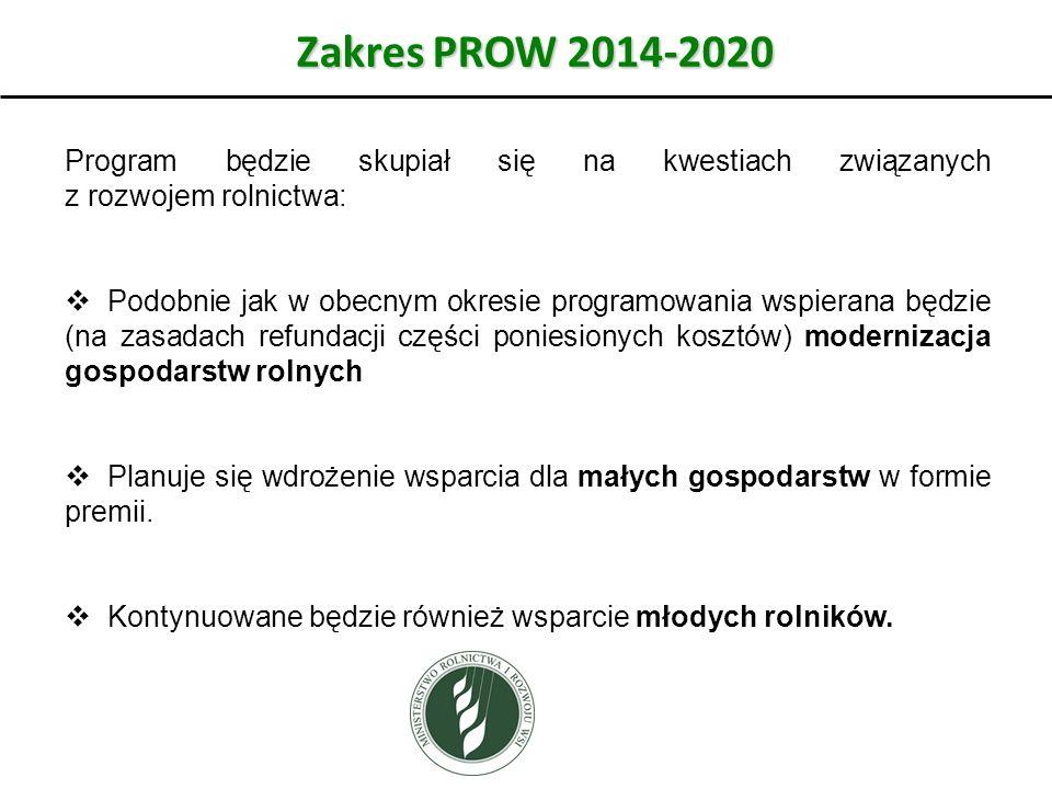 Zakres PROW 2014-2020 Program będzie skupiał się na kwestiach związanych z rozwojem rolnictwa:  Podobnie jak w obecnym okresie programowania wspierana będzie (na zasadach refundacji części poniesionych kosztów) modernizacja gospodarstw rolnych  Planuje się wdrożenie wsparcia dla małych gospodarstw w formie premii.